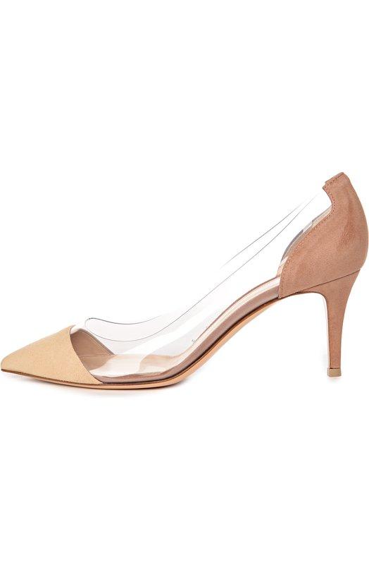 Купить Замшевые туфли Plexi на шпильке Gianvito Rossi Италия 5030696 G28560/SUEDE+PLEXI