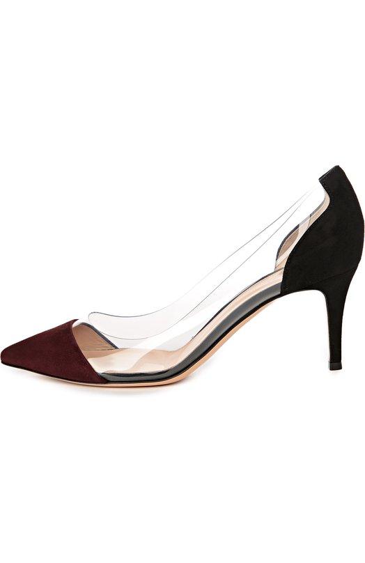 Замшевые туфли Plexi на шпильке Gianvito Rossi Италия 5030696 G28560/SUEDE+PLEXI  - купить со скидкой