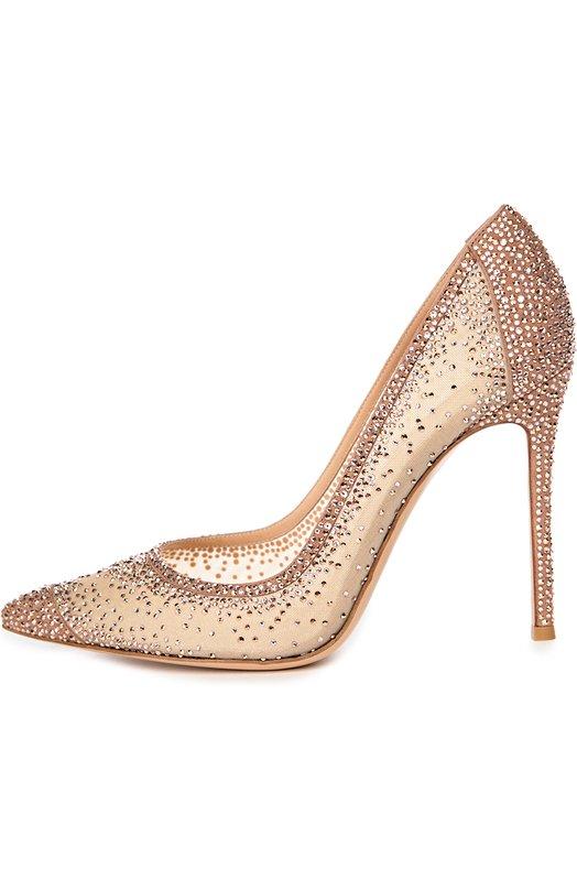 Замшевые туфли с кристаллами Swarovski Gianvito Rossi G20130/SUEDE+0RGANZA