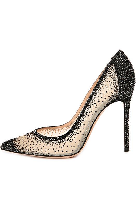 Замшевые туфли с кристаллами Swarovski Gianvito Rossi Gianvito Rossi