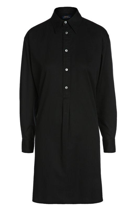 Хлопковое платье-рубашка свободного кроя Polo Ralph LaurenПлатья<br><br><br>Российский размер RU: 42<br>Пол: Женский<br>Возраст: Взрослый<br>Размер производителя vendor: 4<br>Материал: Хлопок: 100%;<br>Цвет: Черный