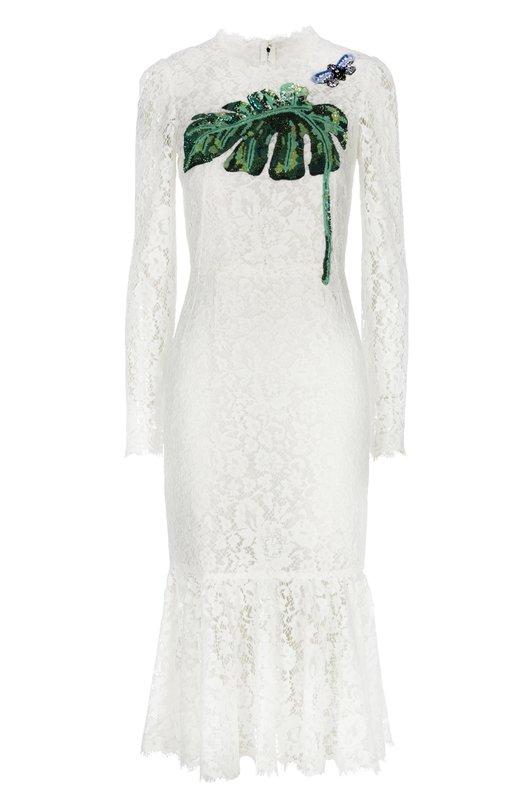 Кружевное облегающее платье с вышивкой Dolce & Gabbana 0102/F6XV2Z/HLMHW