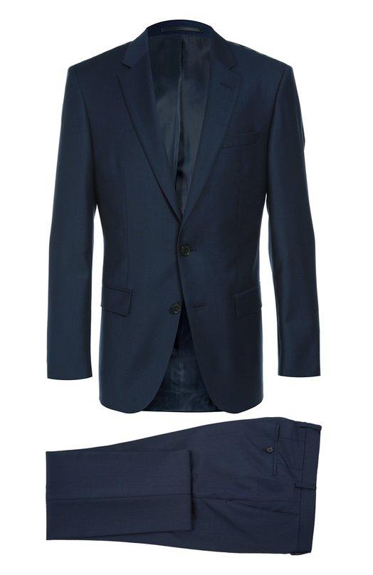 Приталенный шерстяной костюм BOSSКостюмы<br>Мастера бренда сшили темный костюм с зауженными брюками из мягкой текстурированной шерсти. Пиджак застегивается на две пуговицы. Прорезные карманы дополнены клапанами. Модель вошла в коллекцию сезона осень-зима 2016 года<br><br>Российский размер RU: 52<br>Пол: Мужской<br>Возраст: Взрослый<br>Размер производителя vendor: 52<br>Материал: Шерсть: 100%; Подкладка-вискоза: 49%; Подкладка-ацетат: 49%;<br>Цвет: Темно-синий