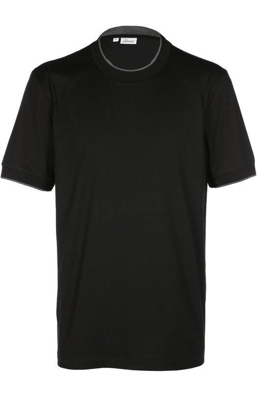 Футболка с круглым вырезом BrioniФутболки<br>Черная футболка из мягкого хлопка вошла в осенне-зимнюю коллекцию 2016 года. Круглый вырез и манжеты на рукавах выполнены из шелковой трикотажной резинки серого цвета. Рекомендуем носить с темными брюками и светлыми кедами.<br><br>Российский размер RU: 54<br>Пол: Мужской<br>Возраст: Взрослый<br>Размер производителя vendor: XL<br>Материал: Хлопок: 96%; Эластан: 4%; Отделка-шелк: 100%;<br>Цвет: Черный