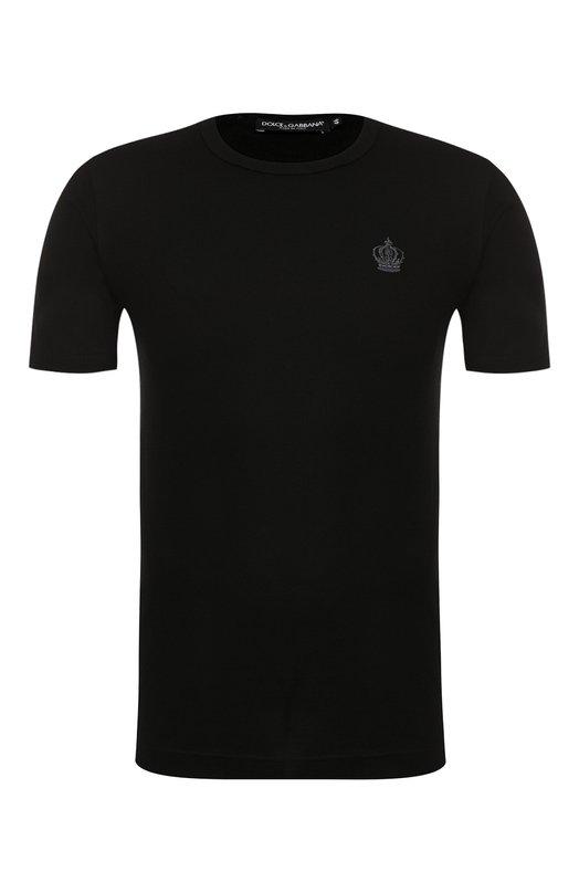 Хлопковая футболка с круглым вырезом Dolce &amp; GabbanaФутболки<br><br><br>Российский размер RU: 48<br>Пол: Мужской<br>Возраст: Взрослый<br>Размер производителя vendor: 46<br>Материал: Хлопок: 100%;<br>Цвет: Черный