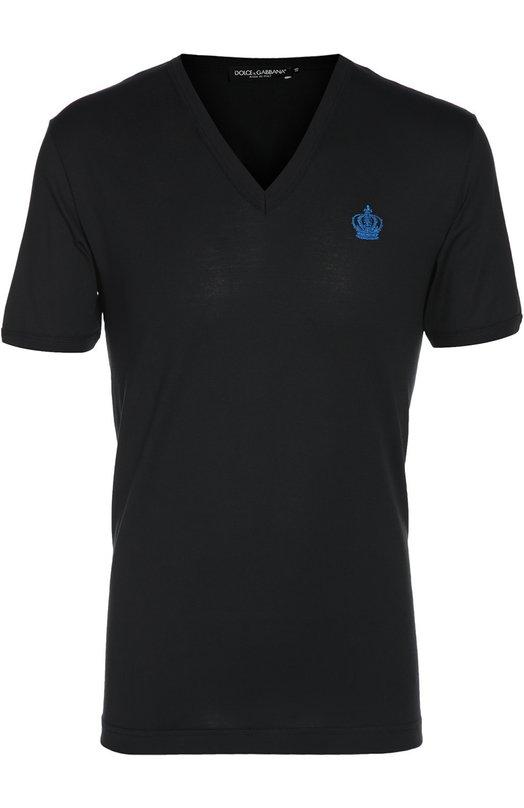 Хлопковая футболка с  V-образным вырезом Dolce &amp; GabbanaФутболки<br><br><br>Российский размер RU: 50<br>Пол: Мужской<br>Возраст: Взрослый<br>Размер производителя vendor: 48<br>Материал: Хлопок: 100%;<br>Цвет: Темно-синий