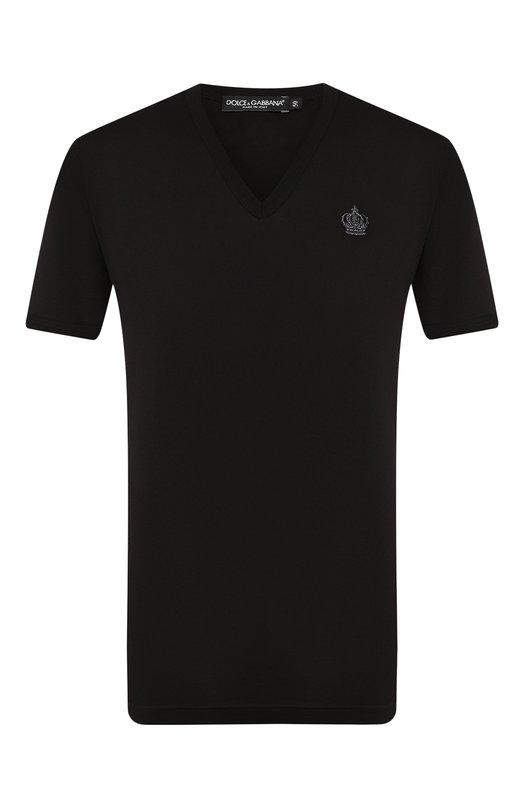 Хлопковая футболка с  V-образным вырезом Dolce &amp; GabbanaФутболки<br><br><br>Российский размер RU: 54<br>Пол: Мужской<br>Возраст: Взрослый<br>Размер производителя vendor: 52<br>Материал: Хлопок: 100%;<br>Цвет: Черный