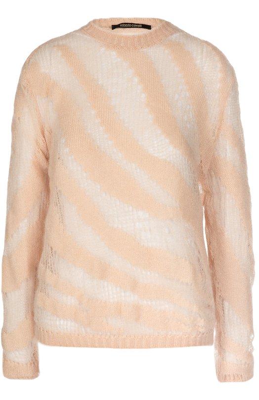 Полупрозрачный пуловер с круглым вырезом Roberto CavalliСвитеры<br><br><br>Российский размер RU: 40<br>Пол: Женский<br>Возраст: Взрослый<br>Размер производителя vendor: 38<br>Материал: Мохер: 67%; Полиэстер: 30%; Шерсть: 3%;<br>Цвет: Светло-розовый