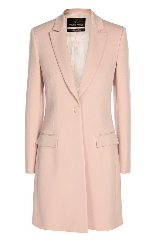 Приталенное пальто с широкими лацканами и карманами Roberto Cavalli DKT500/WP047