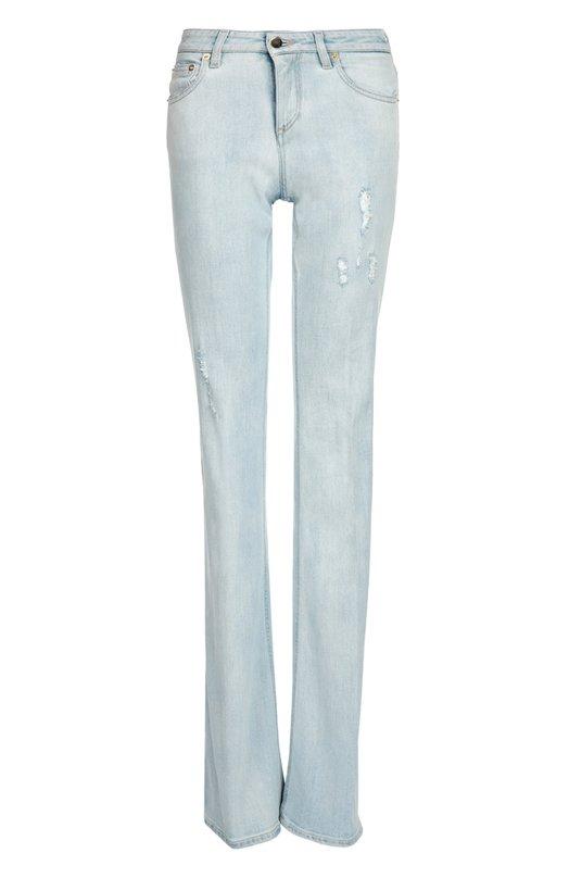 Расклешенные джинсы с потертостями Roberto Cavalli DKJ233/DS002