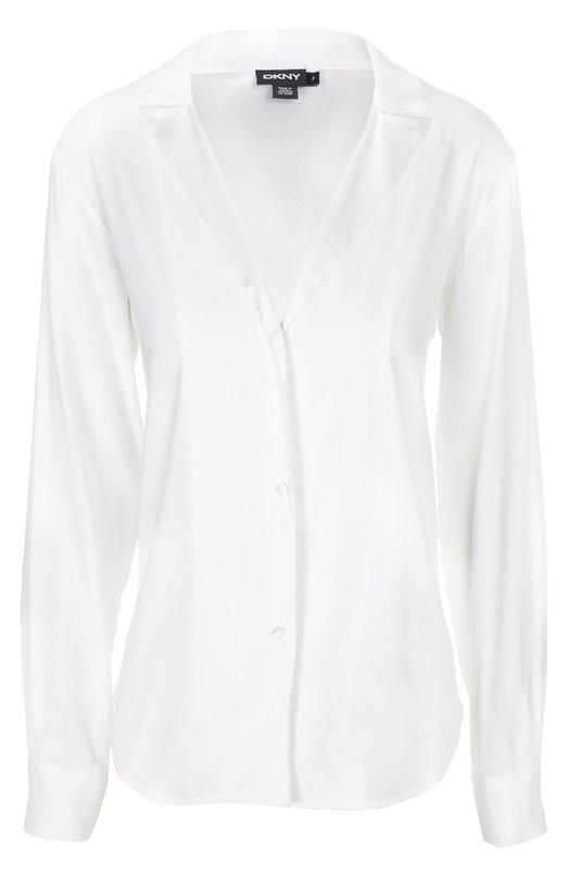 Шелковая блуза в пижамном стиле с V-образным вырезом DKNY P4520152F
