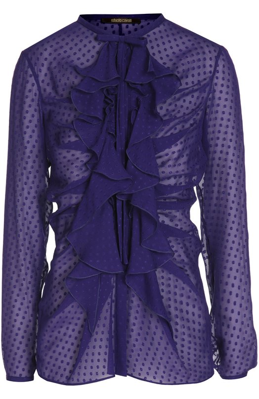 Шелковая полупрозрачная блуза с воланами Roberto CavalliБлузы<br><br><br>Российский размер RU: 40<br>Пол: Женский<br>Возраст: Взрослый<br>Размер производителя vendor: 38<br>Материал: Шелк: 100%;<br>Цвет: Фиолетовый