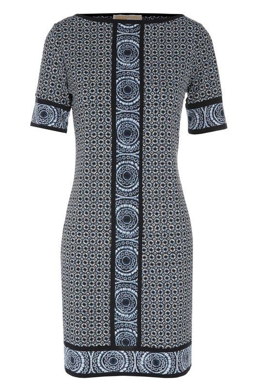 Приталенное мини-платье с вырезом-лодочка и контрастным принтом Michael Michael KorsПлатья<br><br><br>Российский размер RU: 42<br>Пол: Женский<br>Возраст: Взрослый<br>Размер производителя vendor: S<br>Материал: Полиэстер: 95%; Эластан: 5%;<br>Цвет: Разноцветный