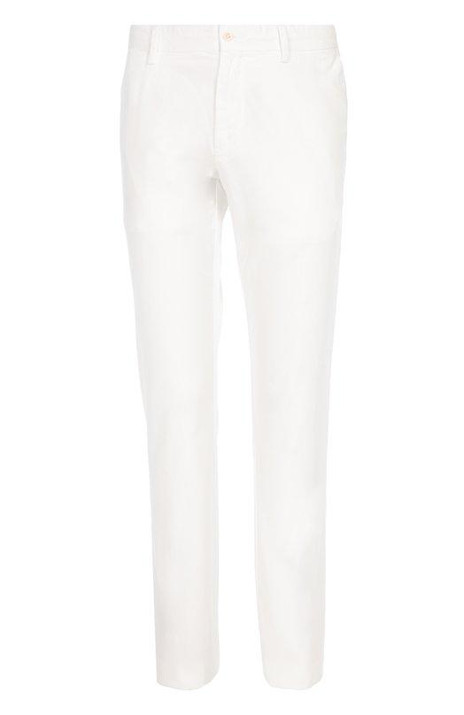 Классические хлопковые брюки Polo Ralph LaurenБрюки<br>Ральф Лорен включил белые брюки в коллекцию сезона осень-зима 2016 года. Модель изготовлена из гладкого тонкого хлопка. Наши стилисты рекомендуют сочетать с рубашкой в клетку и замшевыми мокасинами.<br><br>Российский размер RU: 58<br>Пол: Мужской<br>Возраст: Взрослый<br>Размер производителя vendor: 40-34<br>Материал: Хлопок: 100%;<br>Цвет: Белый