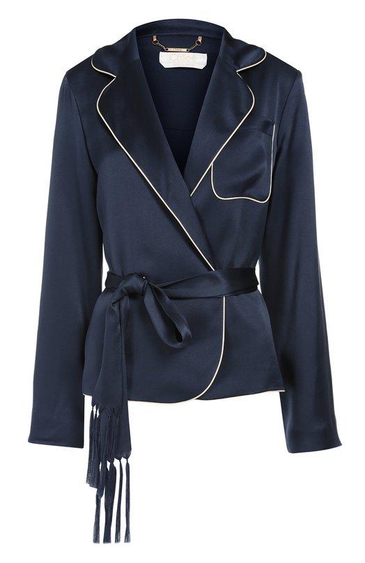 Шелковый жакет в пижамном стиле с контрастной отделкой и поясом Chlo?Жакеты<br>Синяя рубашка в пижамном стиле, сшитая из тонкого шелка, вошла в осенне-зимнюю коллекцию 2016 года. Модель, отделанная узким белым кантом, дополнена нагрудным карманом и поясом-лентой с кисточками. Нам нравится сочетать с брюками в тон, светлыми босоножками и белым клатчем.<br><br>Российский размер RU: 40<br>Пол: Женский<br>Возраст: Взрослый<br>Размер производителя vendor: 34<br>Материал: Шелк: 100%; Подкладка-шелк: 100%;<br>Цвет: Темно-синий