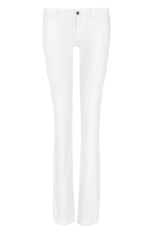 Купить Джинсы прямого кроя с кожаной нашивкой Dolce & Gabbana, 0102/FTAH9D/G8943, Италия, Белый, Хлопок: 98%; Эластан: 2%;