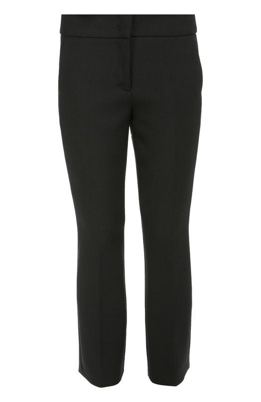 Укороченные прямые брюки с широким поясом с карманами Dorothee SchumacherБрюки<br>Укороченные брюки из плотной ткани вошли в осенне-зимнюю коллекцию 2016 года. Доротея Шумахер дополнила модель двумя задними прорезными карманами. Рекомендуем сочетать с черным жакетом, блузой с принтом и темной обувью.<br><br>Российский размер RU: 44<br>Пол: Женский<br>Возраст: Взрослый<br>Размер производителя vendor: 3<br>Материал: Полиэстер: 53%; Шерсть: 43%; Эластан: 4%;<br>Цвет: Черный
