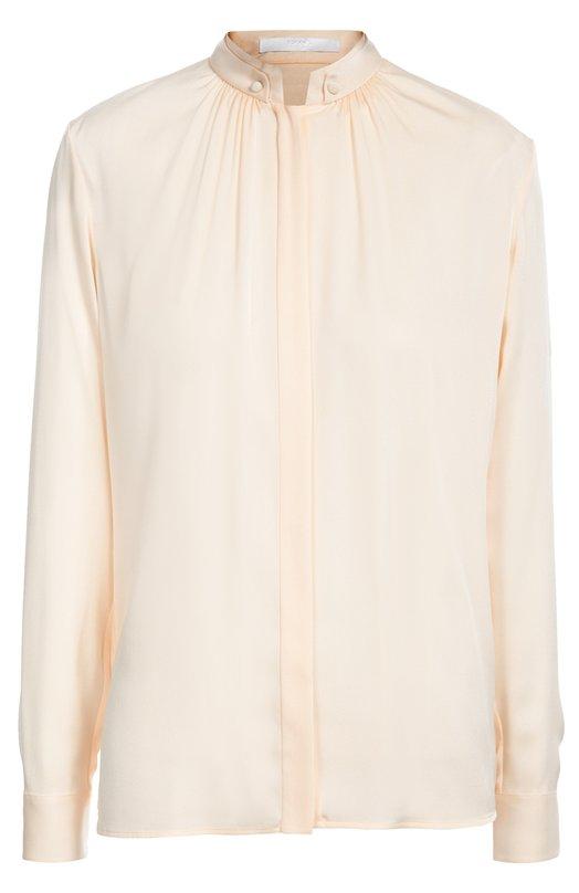 Шелковая блуза прямого кроя с воротником-стойкой HUGO BOSS Black LabelБлузы<br>Блуза Blusil с длинным рукавом сшита из эластичного розового шелка. Модель из осенне-зимней коллекции марки, основанной Хуго Фердинандом Боссом, дополнена двухслойным воротником-стойкой с пуговицами. Советуем сочетать с бордовыми брюками и босоножками.<br><br>Российский размер RU: 40<br>Пол: Женский<br>Возраст: Взрослый<br>Размер производителя vendor: 32<br>Материал: Шелк: 93%; Эластан: 7%;<br>Цвет: Светло-розовый