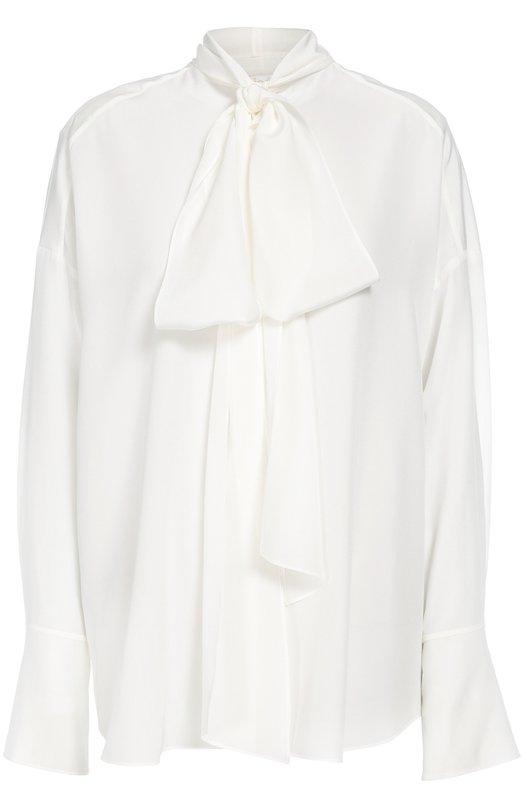 Шелковая полупрозрачная блуза прямого кроя с бантом Chlo?Блузы<br><br><br>Российский размер RU: 50<br>Пол: Женский<br>Возраст: Взрослый<br>Размер производителя vendor: 44<br>Материал: Шелк: 100%;<br>Цвет: Белый