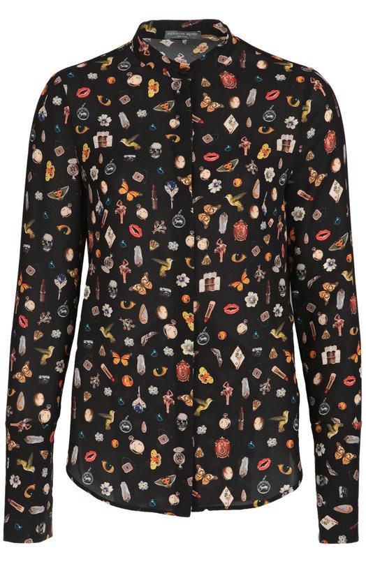 Шелковая блуза с воротником-стойкой и контрастным принтом Alexander McQueenБлузы<br><br><br>Российский размер RU: 44<br>Пол: Женский<br>Возраст: Взрослый<br>Размер производителя vendor: 42<br>Материал: Шелк: 100%;<br>Цвет: Черный