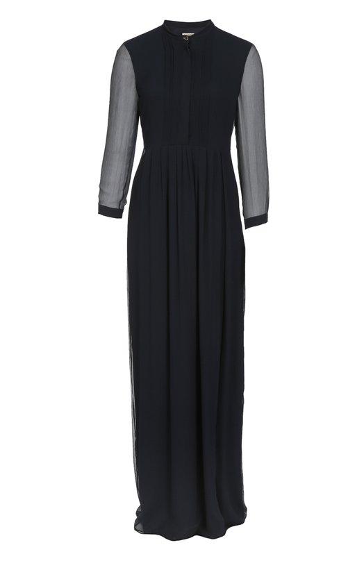Шелковое платье-рубашка в пол с воротником-стойкой BurberryПлатья<br>Модель в пол из мягкого шелкового креша дополнена планкой с потайными пуговицами и молнией сбоку. Темно-синее платье-рубашка с длинными рукавами, воротником-стойкой и боковым разрезом на подоле вошло в осенне-зимнюю коллекцию бренда, основанного Томасом Берберри.<br><br>Российский размер RU: 48<br>Пол: Женский<br>Возраст: Взрослый<br>Размер производителя vendor: 10<br>Материал: Подкладка-шелк: 90%; Шелк: 100%; Подкладка-эластан: 10%;<br>Цвет: Темно-синий