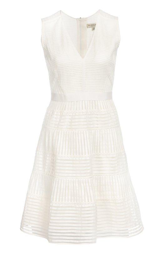 Приталенное мини-платье в полоску с V-образным вырезом Burberry 4012099