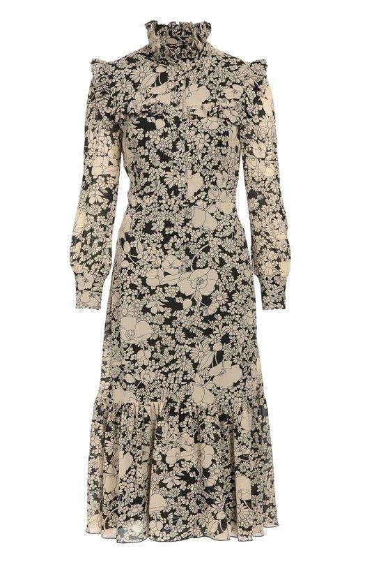 Приталенное платье-миди с высоким воротником и цветочным принтом Saint LaurentПлатья<br><br><br>Российский размер RU: 46<br>Пол: Женский<br>Возраст: Взрослый<br>Размер производителя vendor: 44<br>Материал: Вискоза: 100%; Подкладка-шелк: 100%;<br>Цвет: Черный