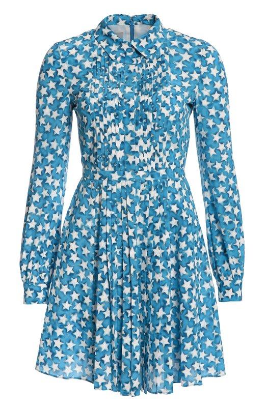 Приталенное платье-рубашка с ярким принтом ValentinoПлатья<br><br><br>Российский размер RU: 46<br>Пол: Женский<br>Возраст: Взрослый<br>Размер производителя vendor: 44<br>Материал: Шелк: 100%;<br>Цвет: Голубой