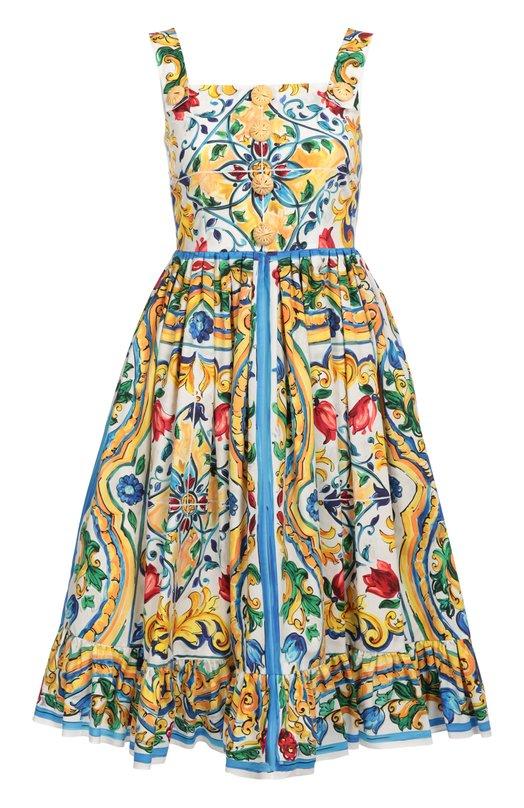 Приталенный сарафан с цветочным принтом и декоративными пуговицами Dolce &amp; GabbanaПлатья<br>Приталенный сарафан с лямками дополнен крупными пуговицами. Для создания модели из осенне-зимней коллекции 2016 года Доменико Дольче и Стефано Габбана использовали мягкий хлопок с разноцветным принтом, имитирующим роспись по керамике, майолику Кальтаджироне.<br><br>Российский размер RU: 38<br>Пол: Женский<br>Возраст: Взрослый<br>Размер производителя vendor: 36<br>Материал: Хлопок: 100%; Подкладка-хлопок: 100%;<br>Цвет: Разноцветный