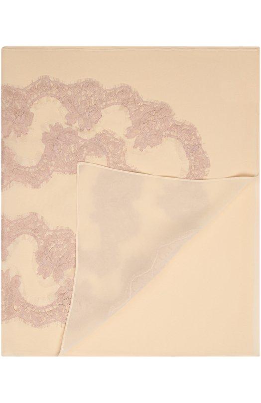 Шелковый платок с кружевом Dolce &amp; GabbanaПлатки<br>Легко драпирующийся длинный шарф из полупрозрачного бежевого шифона вошел в коллекцию сезона осень-зима 2016 года. Доменико Дольче и Стефано Габбана выбрали в качестве декора аксессуара ажурное кружево, выполненное вручную.<br><br>Пол: Женский<br>Возраст: Взрослый<br>Размер производителя vendor: NS<br>Материал: Шелк: 90%; Хлопок: 8%; Полиамид: 2%;<br>Цвет: Бежевый