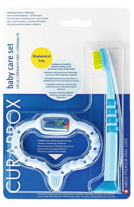 Набор: Голубой стимулятор для зубов и детская зубная щетка CKC42 Boy Curaprox 7612412100037