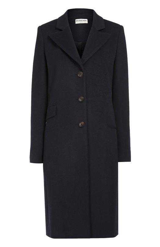 Кашемировое пальто прямого кроя с широкими лацканами BalenciagaПальто и плащи<br><br><br>Российский размер RU: 46<br>Пол: Женский<br>Возраст: Взрослый<br>Размер производителя vendor: 40<br>Материал: Кашемир: 100%; Подкладка-купра: 100%;<br>Цвет: Синий
