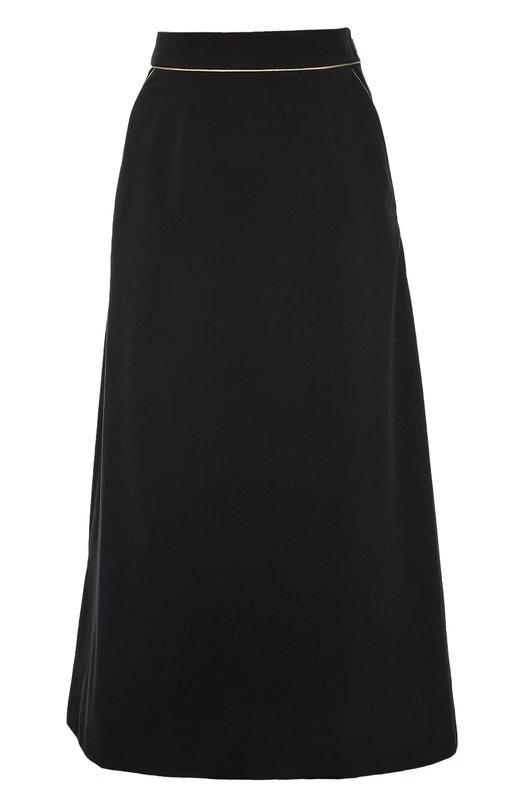 Юбка-миди А-силуэта с контрастной отделкой Saint Laurent 438836/Y615W