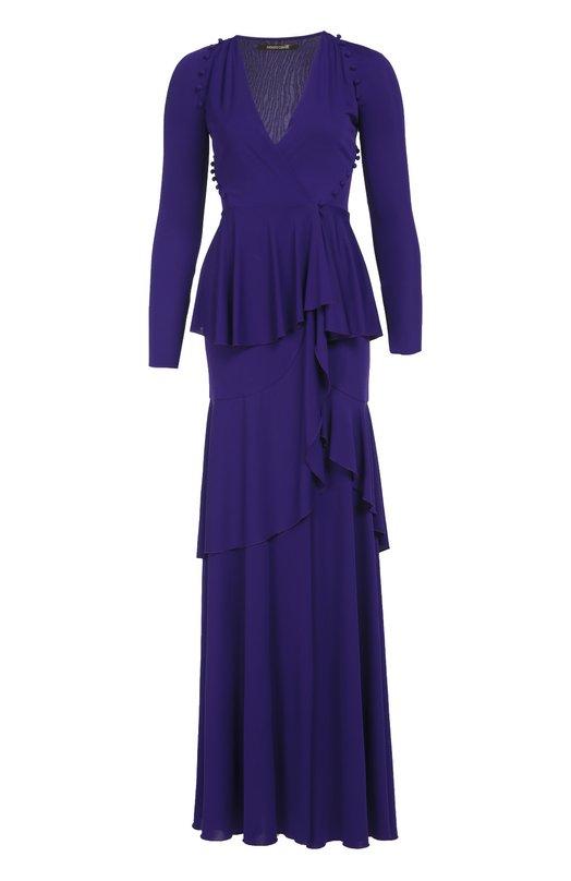 Приталенное платье в пол с высоким разрезом Roberto CavalliПлатья<br>Приталенное многоярусное платье из мягкой струящейся вискозы вошло в осенне-зимнюю коллекцию бренда, основанного Роберто Кавалли. Модель с запахом декорирована обтянутыми тканью пуговицами. Попробуйте сочетать с бархатным клатчем и босоножками на высоком каблуке.<br><br>Российский размер RU: 50<br>Пол: Женский<br>Возраст: Взрослый<br>Размер производителя vendor: 48<br>Материал: Вискоза: 100%; Подкладка-вискоза: 100%;<br>Цвет: Фиолетовый