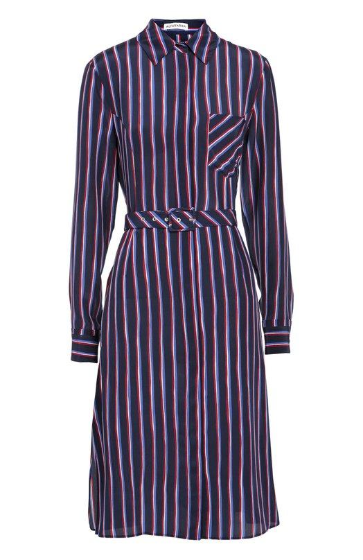 Шелковое приталенное платье-рубашка в контрастную полоску AltuzarraПлатья<br><br><br>Российский размер RU: 48<br>Пол: Женский<br>Возраст: Взрослый<br>Размер производителя vendor: 42<br>Материал: Шелк: 100%;<br>Цвет: Синий