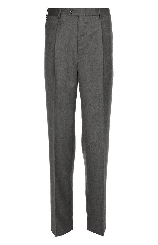 Классические брюки из смеси шерсти и шелка BrioniБрюки<br>В осенне-зимнюю коллекцию 2016 года вошли серые брюки со стрелками. Модель прямого кроя сшита мастерами бренда из мягкой шерсти с добавлением шелка. Нам нравится носить с темно-синим пальто, белыми рубашкой и джемпером и коричневыми брогами.<br><br>Российский размер RU: 56<br>Пол: Мужской<br>Возраст: Взрослый<br>Размер производителя vendor: 54-R<br>Материал: Шерсть: 85%; Шелк: 15%;<br>Цвет: Серый