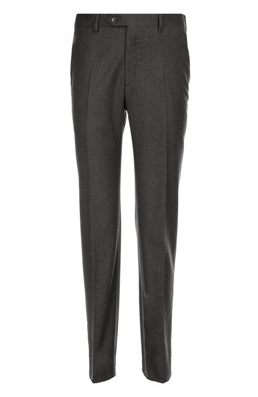 Классические шерстяные брюки с кожаной отделкой BrioniБрюки<br>Для производства темно-серых брюк со стрелками мастера марки использовали мягкую шерсть с добавлением кашемира. Задние карманы дополнены узким кожаным кантом. Модель прямого кроя вошла в осенне-зимнюю коллекцию 2016 года. Попробуйте носить с бежевым плащом, черным пуловером и коричневыми дерби.<br><br>Российский размер RU: 52<br>Пол: Мужской<br>Возраст: Взрослый<br>Размер производителя vendor: 50-R<br>Материал: Шерсть: 95%; Кашемир: 5%;<br>Цвет: Темно-серый