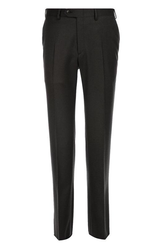 Классические шерстяные брюки с кожаной отделкой BrioniБрюки<br>Для создания темно-серых брюк прямого кроя использована мягкая шерсть с добавлением кашемира. Модель со стрелками вошла в осенне-зимнюю коллекцию 2016 года. Для украшения задних карманов использован узкий кант из кожи в тон. Рекомендуем носить с синим пальто, серой водолазкой и коричневыми брогами.<br><br>Российский размер RU: 58<br>Пол: Мужской<br>Возраст: Взрослый<br>Размер производителя vendor: 56-R<br>Материал: Шерсть: 95%; Кашемир: 5%;<br>Цвет: Темно-серый