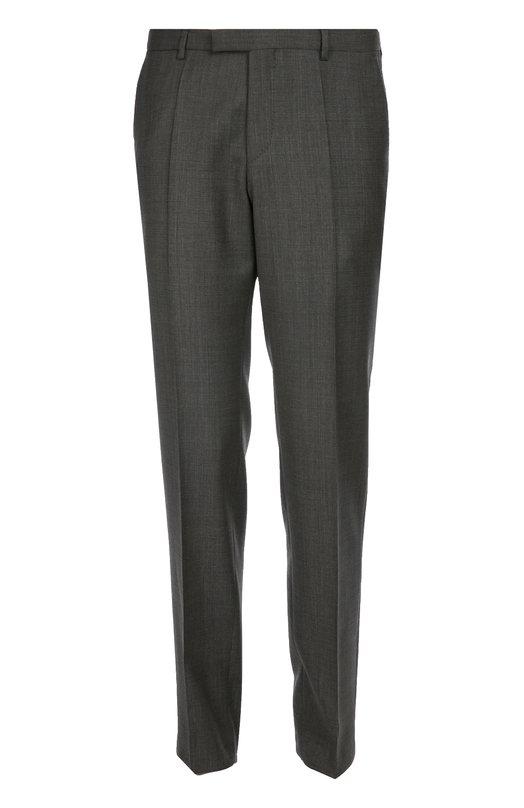 Классические брюки из фактурной шерсти BOSSБрюки<br>В осенне-зимнюю коллекцию 2016 года вошли темно-серые брюки со стрелками, дополненные четырьмя карманами. Модель прямого кроя сшита мастерами марки из мягкой фактурной шерсти. Советуем носить с синим плащом, бордовым поло и коричневыми монками.<br><br>Российский размер RU: 50<br>Пол: Мужской<br>Возраст: Взрослый<br>Размер производителя vendor: 50<br>Материал: Шерсть: 100%;<br>Цвет: Темно-серый
