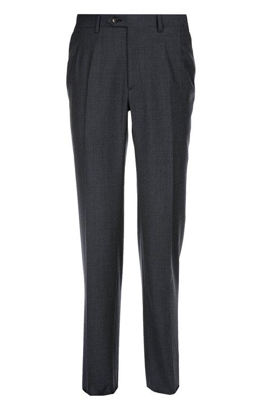 Классические шерстяные брюки BrioniБрюки<br>Для производства синих брюк прямого кроя мастера марки использовали мягкую шерсть в мелкую клетку. Модель со стрелками вошла в коллекцию сезона осень-зима 2016 года. Рекомендуем сочетать с курткой, водолазкой и брогами черного цвета.<br><br>Российский размер RU: 54<br>Пол: Мужской<br>Возраст: Взрослый<br>Размер производителя vendor: 52-R<br>Материал: Шерсть: 100%;<br>Цвет: Темно-серый