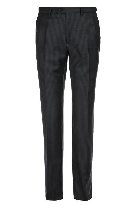 Классические шерстяные брюки в полоску BrioniБрюки<br>Модель прямого кроя вошла в осенне-зимнюю коллекцию 2016 года. Для изготовления темно-синих брюк со стрелками мастера бренда использовали мягкую шерсть в тонкую полоску. Нам нравится сочетать с курткой, водолазкой и дерби.<br><br>Российский размер RU: 56<br>Пол: Мужской<br>Возраст: Взрослый<br>Размер производителя vendor: 54-R<br>Материал: Шерсть: 100%;<br>Цвет: Темно-синий