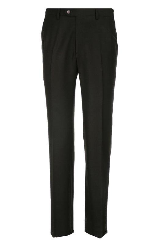 Классические шерстяные брюки BrioniБрюки<br>Для производства брюк со стрелками использована мягкая шерсть черного цвета. Модель прямого кроя, дополненная двумя боковыми и двумя задними карманами, вошла в осенне-зимнюю коллекцию 2016 года. Советуем носить с голубой рубашкой, синим галстуком, серым пиджаком в клетку и брогами коричневого цвета.<br><br>Российский размер RU: 64<br>Пол: Мужской<br>Возраст: Взрослый<br>Размер производителя vendor: 62-R<br>Материал: Шерсть: 100%;<br>Цвет: Черный