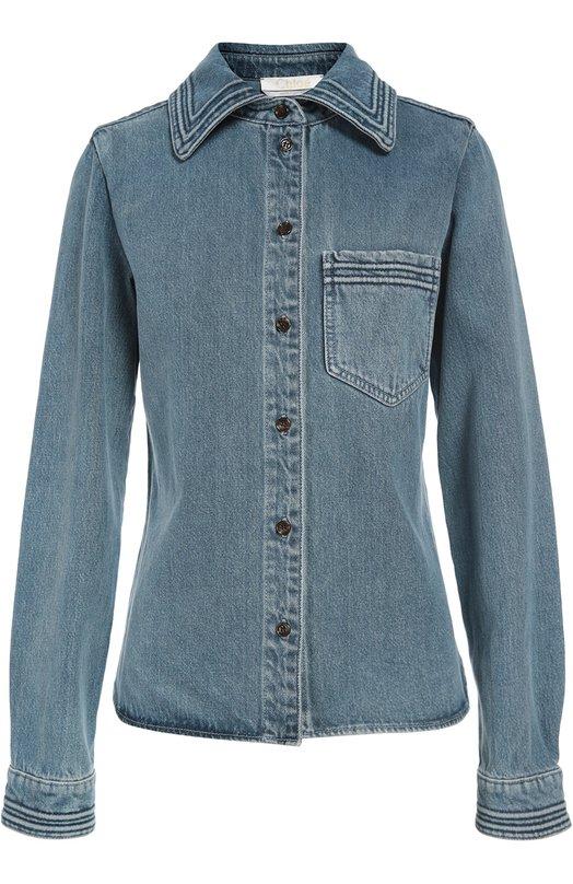 Джинсовая блуза прямого кроя с накладным карманом Chlo?Блузы<br>Голубая джинсовая рубашка из мягкого хлопка вошла в осенне-зимнюю коллекцию 2016 года. Края отложного воротника, манжет длинных рукавов и накладного нагрудного кармана украшены декоративной строчкой. Предлагаем носить с широкими джинсами и светлыми кедами.<br><br>Российский размер RU: 40<br>Пол: Женский<br>Возраст: Взрослый<br>Размер производителя vendor: 34<br>Материал: Хлопок: 100%;<br>Цвет: Голубой