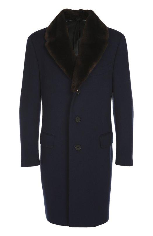 Пальто из шерсти с меховым воротником CanaliПальто и плащи<br>Синее однобортное пальто с широким отложным воротником из меха бобра вошло в коллекцию сезона осень-зима 2016 года. Приталенная модель с тремя карманами выполнена из плотной шерсти с добавлением кашемира. Рекомендуем сочетать с коричневой водолазкой, серыми брюками и монками коньячного цвета.<br><br>Российский размер RU: 48<br>Пол: Мужской<br>Возраст: Взрослый<br>Размер производителя vendor: 46<br>Материал: Шерсть: 90%; Подкладка-купра: 100%; Воротник/мех бобра/: 100%; Кашемир: 10%;<br>Цвет: Синий