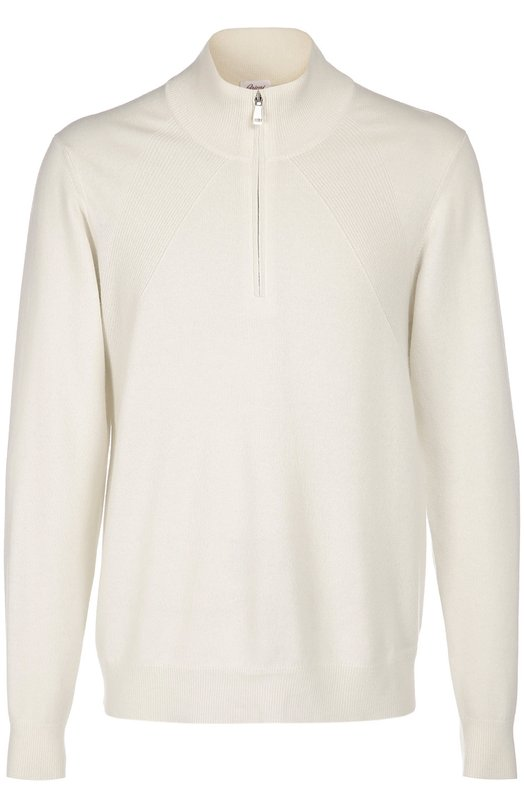 Кашемировый свитер с воротником на молнии BrioniСвитеры<br><br><br>Российский размер RU: 56<br>Пол: Мужской<br>Возраст: Взрослый<br>Размер производителя vendor: 54<br>Материал: Кашемир: 100%;<br>Цвет: Белый