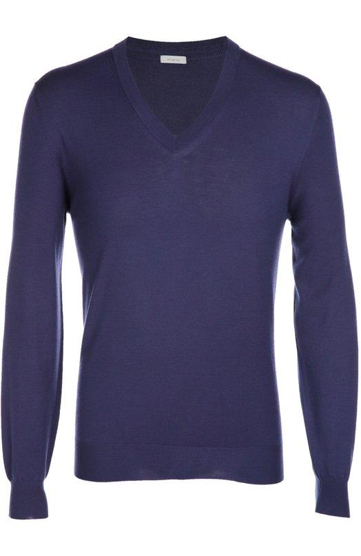 Шерстяной пуловер с V-образным вырезом maloСвитеры<br><br><br>Российский размер RU: 52<br>Пол: Мужской<br>Возраст: Взрослый<br>Размер производителя vendor: 50<br>Материал: Шерсть овечья: 100%;<br>Цвет: Фиолетовый
