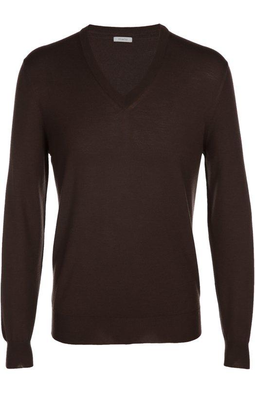 Шерстяной пуловер с V-образным вырезом maloСвитеры<br><br><br>Российский размер RU: 50<br>Пол: Мужской<br>Возраст: Взрослый<br>Размер производителя vendor: 48<br>Материал: Шерсть овечья: 100%;<br>Цвет: Темно-коричневый