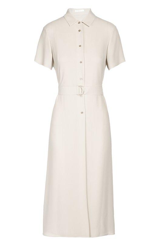 Платье-рубашка с поясом BOSSПлатья<br>Миди-платье с отложным воротником и короткими рукавами вошло в осенне-зимнюю коллекцию 2016 года. Мастера марки, основанной Хуго Фердинандом Боссом, сшили изделие из тонкого материала. Модель, застегивающаяся на пуговицы спереди, дополнена широким текстильным ремнем в тон.<br><br>Российский размер RU: 42<br>Пол: Женский<br>Возраст: Взрослый<br>Размер производителя vendor: 34<br>Материал: Полиэстер: 100%;<br>Цвет: Светло-серый