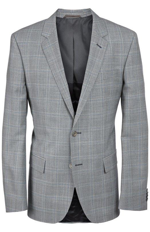 Шерстяной пиджак в клетку Prince of Wales BOSSПиджаки<br>Мастера бренда сшили светло-серый однобортный пиджак из тонкой гладкой шерсти в клетку Prince of Wales. Слегка приталенная модель из коллекции сезона осень-зима 2016 года застегивается на две пуговицы.<br><br>Российский размер RU: 44<br>Пол: Мужской<br>Возраст: Взрослый<br>Размер производителя vendor: 44<br>Материал: Шерсть: 100%;<br>Цвет: Серый