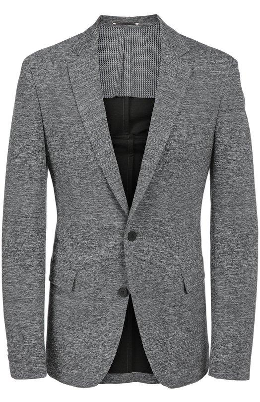 Приталенный шерстяной пиджак BOSSПиджаки<br>Серый пиджак вошел в осенне-зимнюю коллекцию 2016 года. Приталенная модель из плотной фактурной шерсти дополнена двумя боковыми карманами с клапанами и одним нагрудным. Нам нравится носить с белой рубашкой, черными брюками и туфлями.<br><br>Российский размер RU: 56<br>Пол: Мужской<br>Возраст: Взрослый<br>Размер производителя vendor: 56<br>Материал: Шерсть: 100%;<br>Цвет: Серый